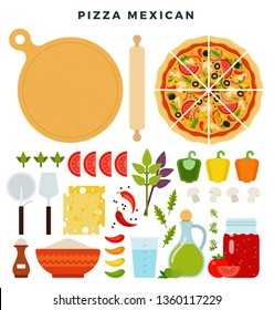 Pizza mexican and all ingredients for cooking it. Make your pizza. Set of products and tools for pizza making. Everything for dough, filling and sauce. Vector illustration in flat style.