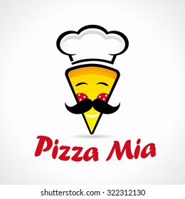 Pizza Mia logo. Logotype of cooking, quickly delivering with smiles, mustaches and Chef's hat. Vector branding sign with naming idea.
