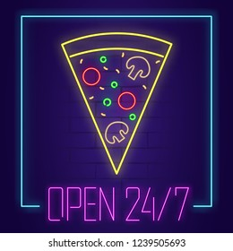 Pizza neon sign with text OPEN 24/7 on brick wall background. Light banner. Vector illustration