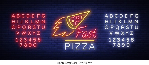 Pizza neon sign vector. Pizzeria neon logo, emblem. Neon advertising on the topic of pizza cafe, restaurant, dining room, snack bar, bar. Shining banner. Vector illustration. Editing text neon sign