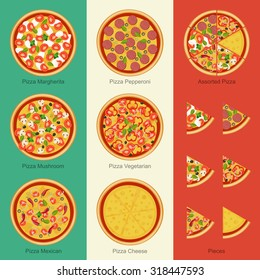Pizza on the background Italian flag. Set of pizzas with different ingredients