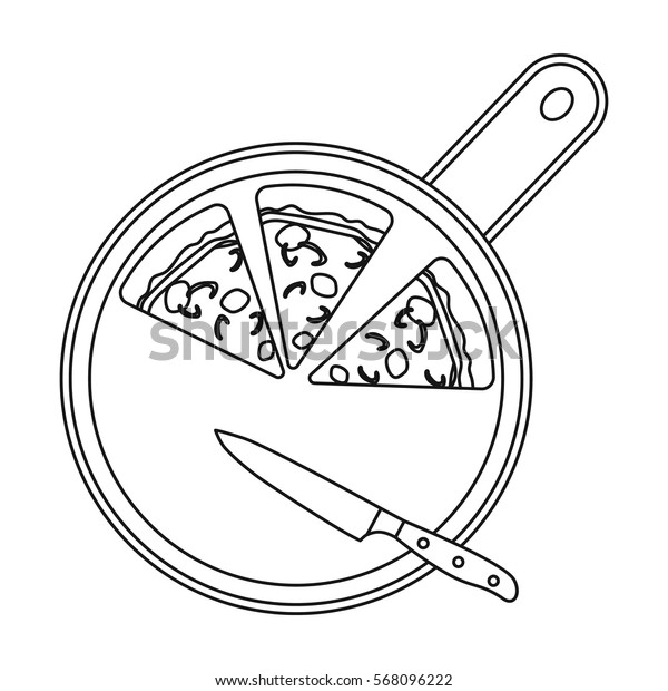 Pizza on cutting board icon in outline style isolated on white background. Pizza and pizzeria symbol stock vector illustration.