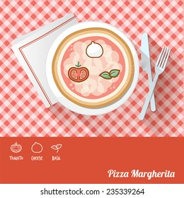 Pizza on a dish with icon ingredients and recipe name at bottom