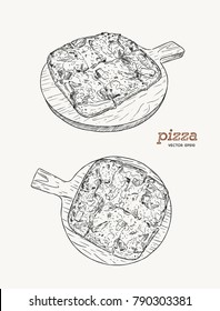 Pizza on the wooden board hand draw sketch vector. ham , bacon and cheese.