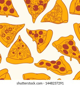Pizza orange slices with red outline on light cream background vintage seamless pattern