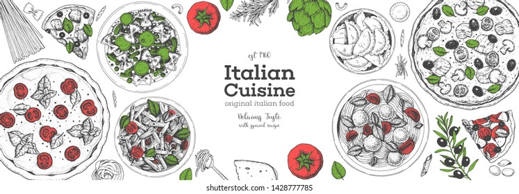 Pizza, pasta and ravioli cooking and ingredients for pizza, pasta and ravioli , sketch illustration. Italian cuisine frame. Food menu design elements. Pizza and pasta hand drawn frame. Italian food.