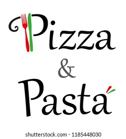 Pizza and Pasta Restaurant Logo with Knife and Fork and Italian Colors
