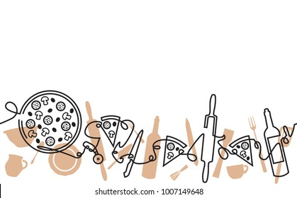 Pizza Pattern. Continuous Line Drawing.  Vector illustration.