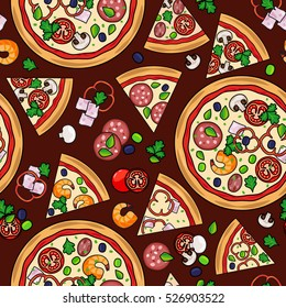 Pizza pattern with slices and ingredients on dark background. Vector illustration