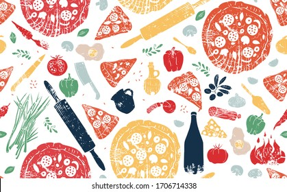 Pizza Pattern. Vector illustration.  Doodle style. Pizzeria background.