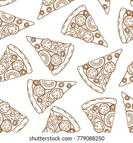 Pizza pattern. Vector seamless outline pattern with hand drawn pizza slices. Isolated on white background.