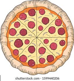 Pizza (pepperoni, onion) - clipart