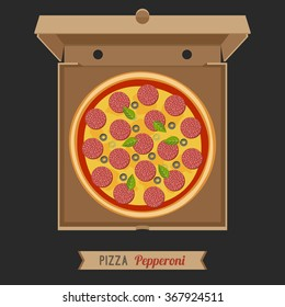 Pizza pepperoni in the opened cardboard box. Vector flat pizza with salami.