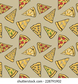 Pizza pieces painted in graphic style. Vector seamless pattern. Useful for restaurant identity, packaging, menu design and interior decorating