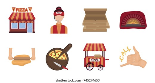 Pizza and pizzeria icons in set collection for design. Staff and equipment vector symbol stock web illustration.