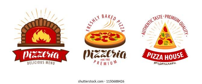 Pizza, pizzeria logo or symbol. Labels for menu design restaurant or cafe. Vector illustration