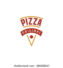 Pizza, pizzeria vector logo, icon, symbol, emblem, sign. Graphic design element with a slice of pizza