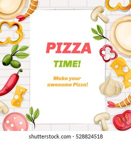 Pizza poster. Pizza food cover. Food poster. Vector banner