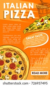 Pizza poster for Italian pizzeria restaurant of margherita or carbonara pizza slice with pepperoni sausage, mushroom or mozzarella cheese and soda drink fastfood menu. Vector sketch design template