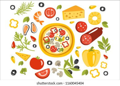 Pizza Preparation Set Of Ingredients Illustration. Flat Primitive Graphic Style Collection Of Cooking Elements
