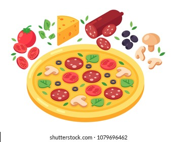Pizza and products for pizza vector isometric illustration. Tomato, cheese, pepperoni, mushrooms and olives. Isolated isometric illustration on white background.