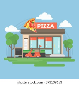 Pizza restaurant building. Isolated urban building with sign and storefront. City landscape withclouds and trees.