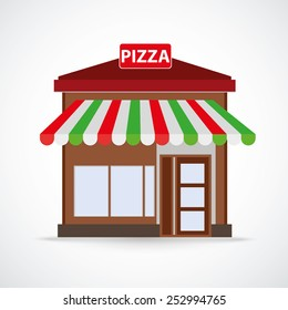 Pizza restaurant building on the gray background.Eps 10 vector file.
