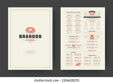 Pizza restaurant menu layout design brochure or food flyer template vector illustration. Pizzeria logo with vintage typographic decoration elements and fast food graphics.