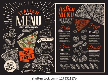 Pizza restaurant menu on blackboard vector food flyer for bar and cafe design template with vintage hand-drawn illustrations
