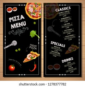 Pizza restaurant menu template with illustration -Restaurant cafe menu, template design. Food flyer. Vector
