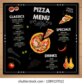Pizza restaurant menu template with illustration Restaurant cafe menu, template design. Food flyer Vector