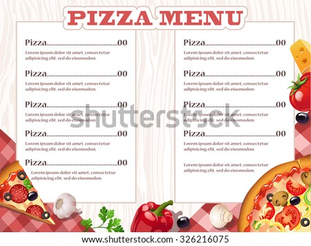 pizza restaurant menu template ingredients vector stock vector