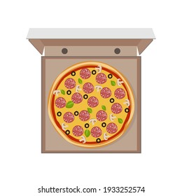 Pizza with salami, olives, and mushrooms top view in a cardboard box