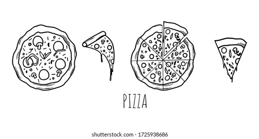 Pizza with sausage and mushrooms on a white plate, pizza on a white plate