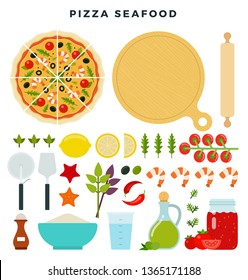 Pizza with seafood and all ingredients for cooking it. Make your pizza. Set of products and tools for pizza making. Everything for dough, filling and sauce. Vector illustration in flat style.