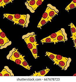 pizza seamless doodle pattern