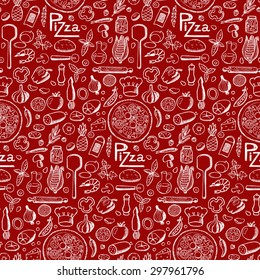 Pizza. Seamless hand drawn doodle pattern. Vector illustration for backgrounds, card, posters, banners, textile prints, cover, web design