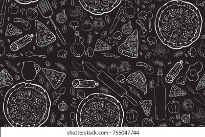 披薩無縫圖案。