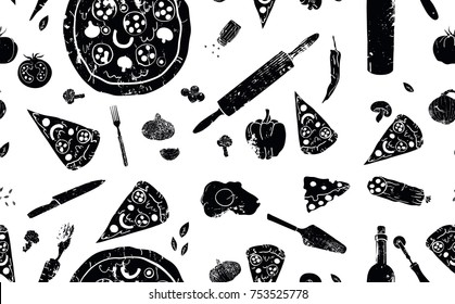 Pizza seamless pattern. Black and white vintage pizza background. Useful for restaurant identity, menu design and interior decorating. Vector illustration.