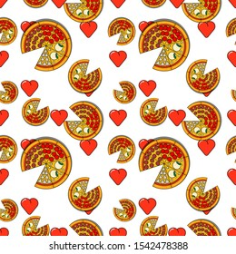 Pizza seamless pattern. Four seasons pizzas with hearts on white background. Funny, hipster design for pizzeria, pizza love, delivery, cafe, restaraunt. Flat cartoon style pattern, print, texture.