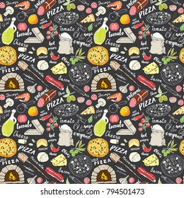 Pizza seamless pattern hand drawn sketch. Pizza Doodles Food background with flour and other food ingredients, oven and kitchen tools. Vector illustration.