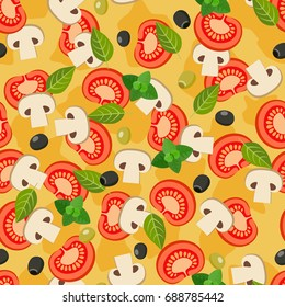 Pizza seamless pattern. Repeatable background with pizza ingredients.