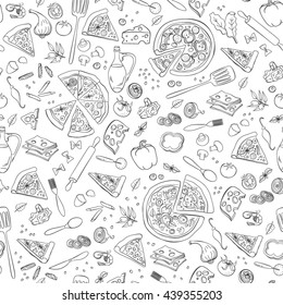 Pizza seamless pattern. Useful for restaurant identity, packaging, menu design and interior decorating