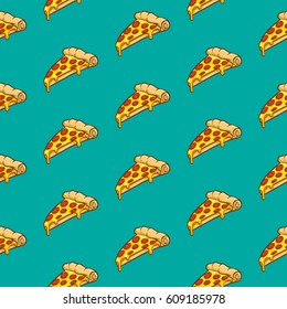 Pizza seamless pattern vector collection