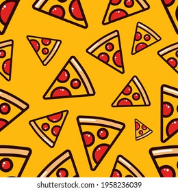 Pizza semaless pattern on yellow background. Vibrant colorful pizza vector pattern in flat style. SLice of pizza seamless pattern for wrapping, texture and print. Background for cafe and fastfood