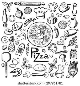 Pizza. Set hand drawn elements. Vector illustration for backgrounds, web design, design elements, textile prints, covers, posters,  menu