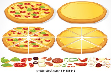 Pizza Set Vector. Isolated Pie and Ingredients. Fast Food Creation Kit