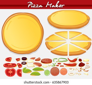 Pizza Set. Vector Isolated. Whole and Sliced Round Pizza Pie and Various Ingredients. Fast Food Creation Kit