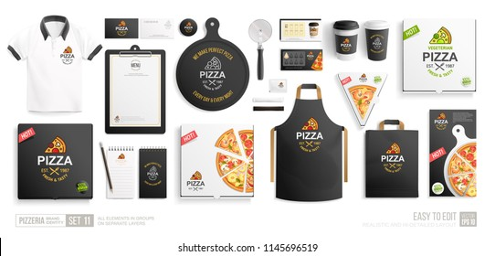 Pizza Shop, Restaurant Black Brand Identity mock-up set isolated on white background. Branding bundle of vegetarian pizza box, pizzeria flyer, stationary items, uniform. Pizza corporate style mock up