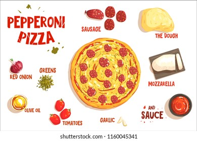 Pizza sign in form piece of peperoni. Vector illustration